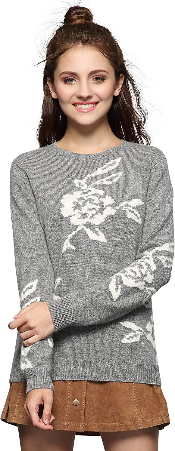 Chesslyre 100% Cashmere Sweater for Girls,Jacquard Weave Crew Neck Slim Sweaters