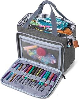 Luxja Sac Crochet Tricot, Sac Rangement Laine, Sac a Tricoter pour Crochet Laine, Aiguilles à Tricoter et d'autres Accesso...