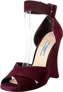 241fa9c3fb37 Prada Women s Deep Purple Suede Ankle Strap Wedge Sandals Shoes US 7.5 IT  37.5
