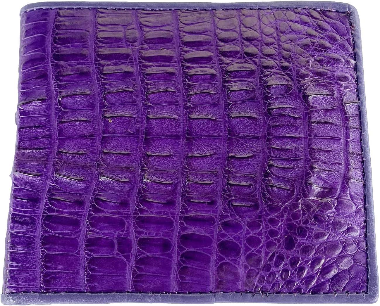 Genuine Real Tail Crocodile Alligator Skin Leather Man Bifold Purple Wallet