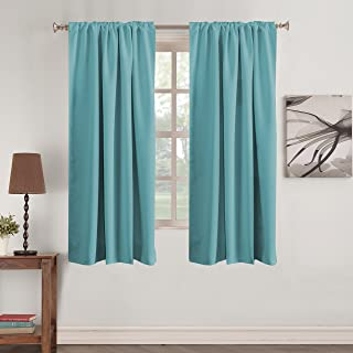 Draperies & Curtains - Room Darkening Window Treatments Back Tab/Rod Pocket Blackout Curtain Panels Energy Efficient Thermal Insulated Window Curtain 2 Panels for Bedroom, 52 x 63 Inch