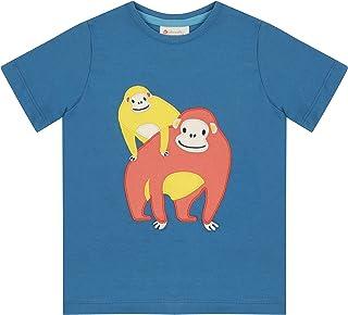 Piccalilly Blue T-Shirt pour Enfant avec Manches Courtes Motif Orang-outan