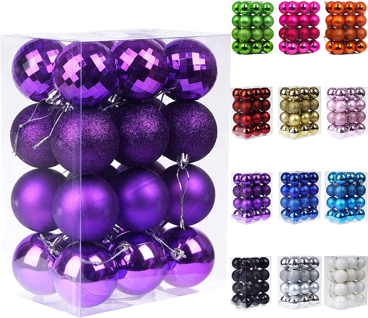 Emopeak 24Pcs Christmas Balls Ornaments for Xmas Christmas Tree - 4 Style Shatterproof Christmas Tree Decorations Hanging Ball for Holiday Wedding Party Decoration (Purple, 1.6