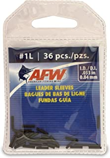 American Fishing Wire Single Barrel Crimp Sleeves, Black Color, Size 1L, 0.033 -Inch Inside Diameter, 36-Pieces