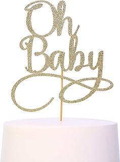اوه کیک کودک Topper - Smash Cake Topper ، کودک جدید برای اثاثیه غرفه عکس ، لوازم تزئینی کیک زرق و برق ، دوش کودک طرفدار کیک طلای طلایی ، آه کودک (علامت کودک)