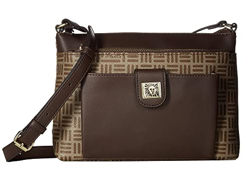 Lion Logo Zip & Go Top Zip Crossbody, Khaki Brown/Walnut