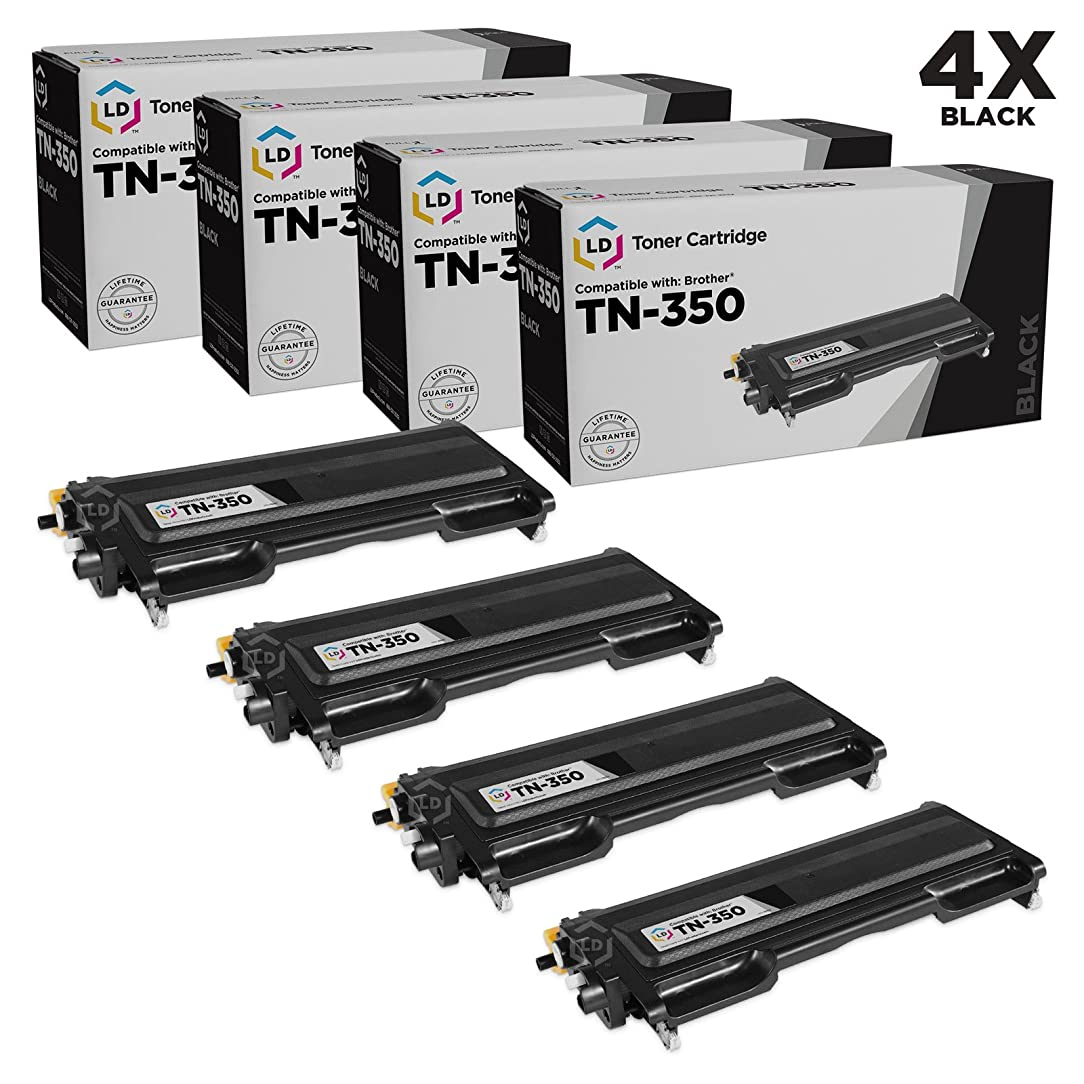 LD Brother Compatible Set of 4 TN350 Black Laser Toner Cartridges for use in Brother DCP 7020, HL 2030, HL 2040, HL 2070N, Intellifax 2820, 2920, MFC 7220, MFC 7225N, MFC 7420, and MFC 7820N Printers