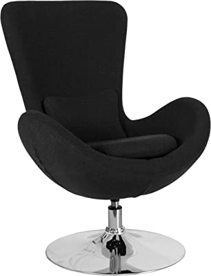 Flash Furniture Egg Series Black Fabric Side Reception Chair