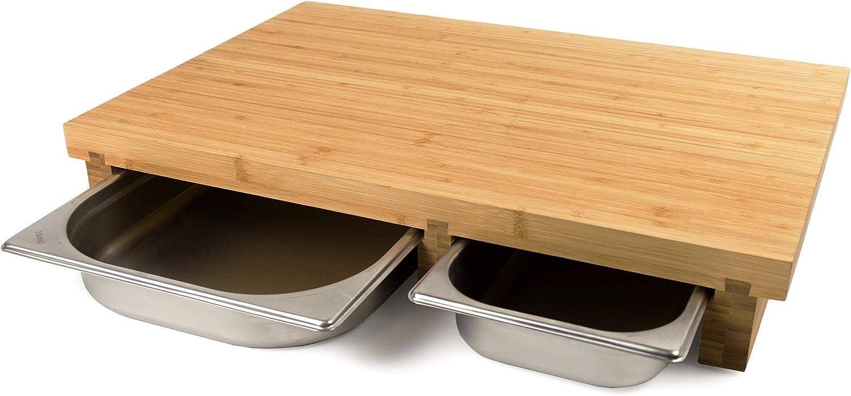 Cleenbo Schneidebrett duo classic Bamboo, extra großes Profi Holz Holz Holz Küchenbrett xxl, Schneidbrett groß massiv aus geöltem Bambus mit 2 Edelstahl Auffangschalen, mit zwei Schubladen, 55 x 38 x 8,7 cm B07HRV7VFY 848de3