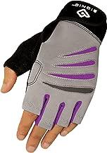 Bionic Glove Women's Premium Finger Less Fitness Gloves w/Natural Fit Technology, Gray/Purple (Pair)