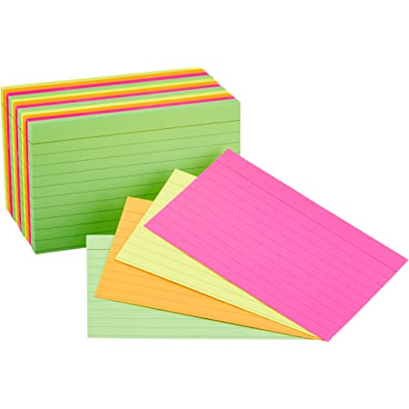 Amazon Basics Ruled Index Flash Cards, Assorted Neon Colored, 3x5 Inch, 300-Count