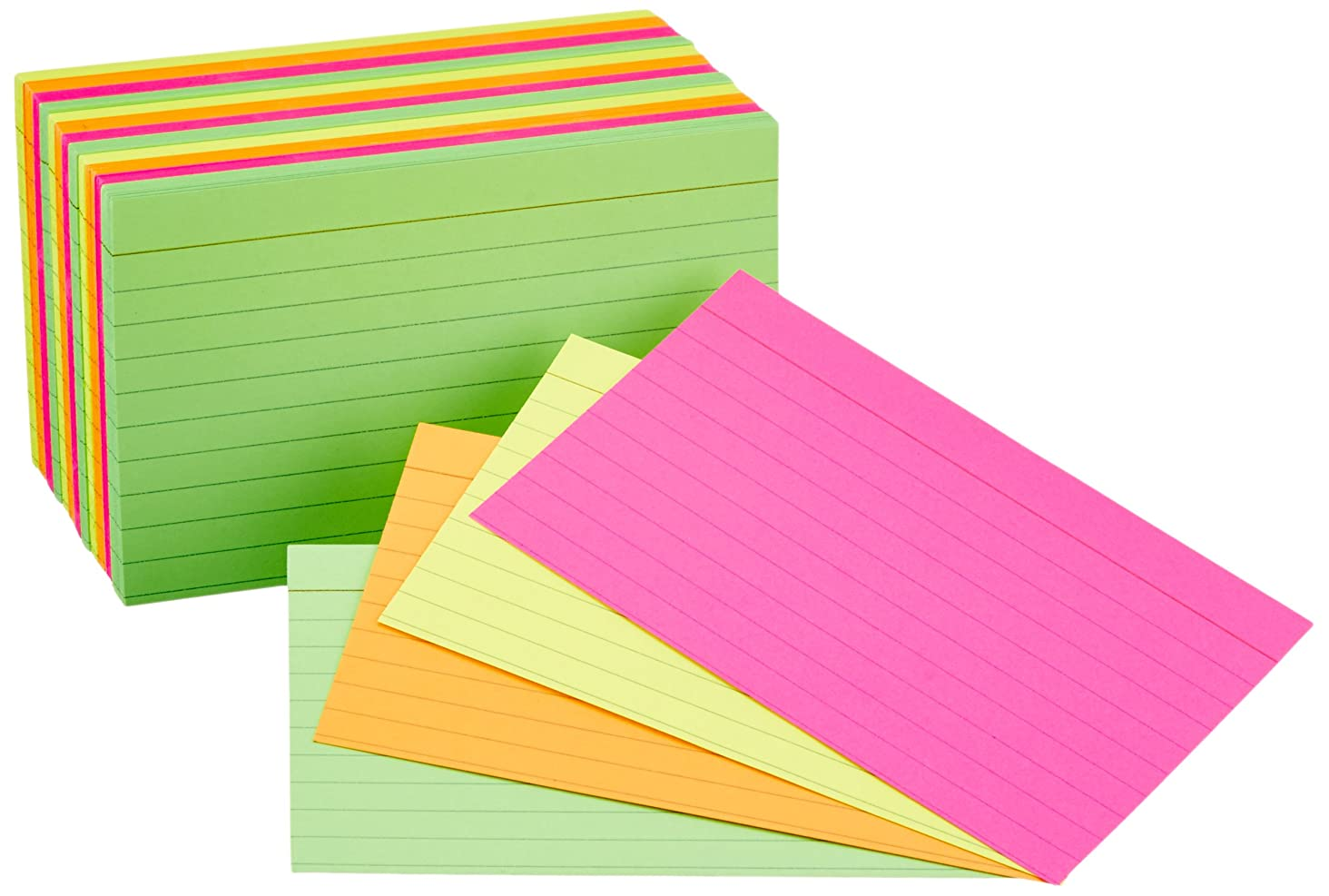 AmazonBasics Ruled Index Flash Cards, Assorted Neon Colored, 3x5 Inch, 300-Count