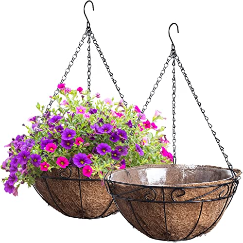 """discount Royal Imports Metal Hanging Planter Flower Basket with Coco Coir Liners 13"""" Round Wire 2021 Outdoor lowest Porch Balcony Garden Décor, Set of 2 outlet sale"""