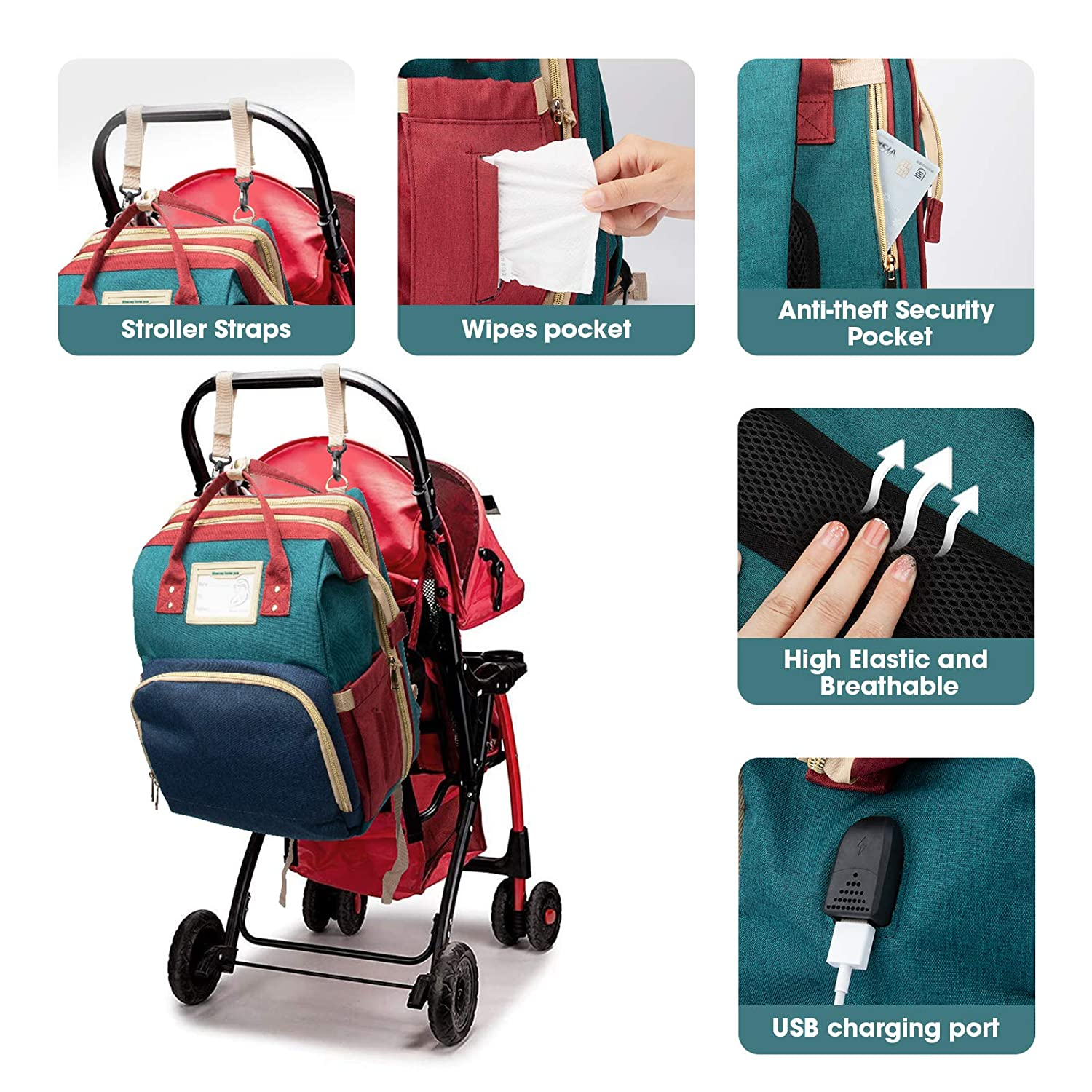 Diaper Bag Backpack Travel Bassinet Portable Baby Bed, Baby Diaper Bag Backpack with Changing Station, Multifunctional Baby Bassinet Travel Cot, Foldable Baby Crib with Changing Pad, Waterproof