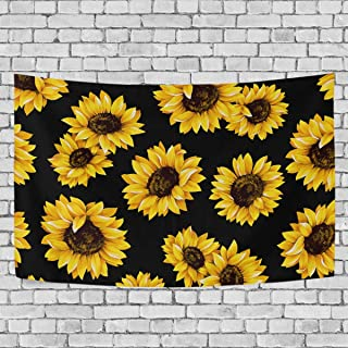 LittleLuck Wall Tapestry Yellow Blooming Sunflowers Black Modern Wall Hanging Artwork Polyester Fabric Cottage Dorm Bedroom Living Room Wall Art Wall Blanket Home Decoration 60X40