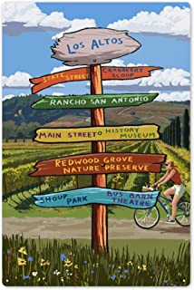 Lantern Press Cranberry Scoop, Los Altos, California - Destination Signpost 83069 (6x9 Aluminum Wall Sign, Wall Decor Ready to Hang)