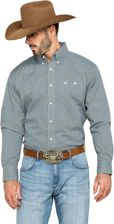 Wrangler Men's Classic Geo Print Button Long Sleeve Western Shirt Big
