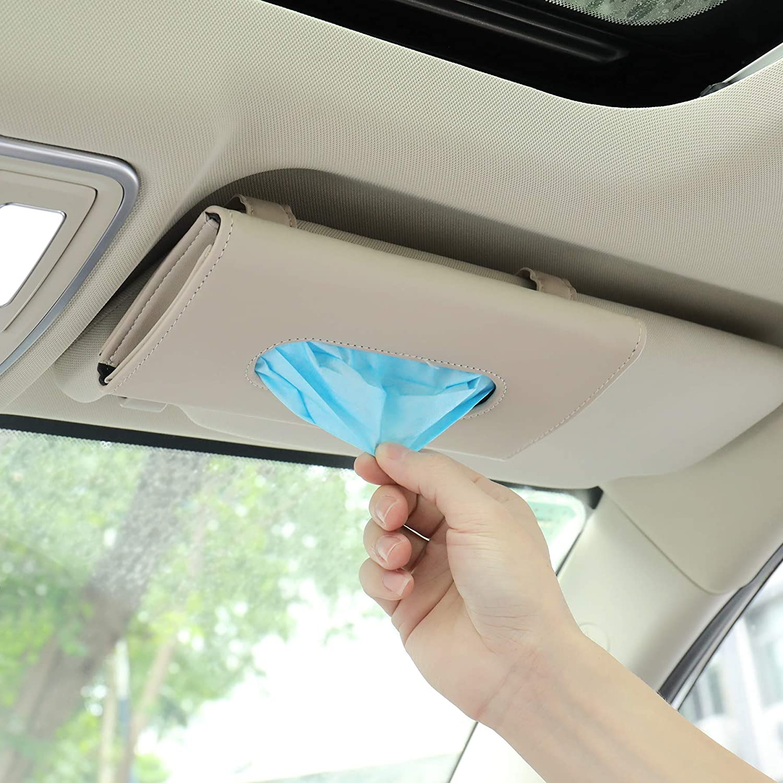 Organizador portabarbijos pañuelos para visera auto. Beige