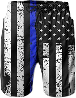American Thin Blue Line Flag Day Men's Quick Dry Beach Board Shorts Summer Swim Trunks for Father's Day