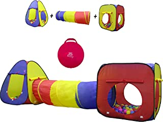 Kiddey 3pc Kids Play Tent Crawl Tunnel and Ball Pit Set – Durable Pop Up Playhouse Tent..