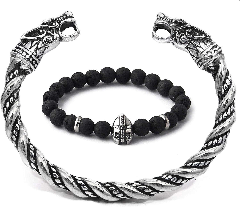 BaviPower Wholesale National uniform free shipping Viking Wolf Torc Steel Bracelet Stainless