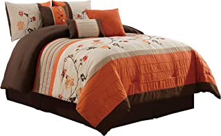 Chezmoi Collection Com-Orange Serene 7-Piece Floral Scroll Embroidery Pleated Striped Comforter Set (Queen
