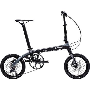 RENAULT(ルノー) Carbon8 ブラック 究極の素材【炭素繊維 TORAY T700 カーボンフレーム】 超軽量約8.9kg 超小型 16インチ 折りたたみ自転車 SHIMANO[SORA]9段変速機搭載 前後油圧式ディスクブレーキ搭載 アルミ鍛造一体式ジョイント 高さ調節機能付きアルミハンドルステム装備 アルミリム 軽量タイヤ PAT.P 11288-0199