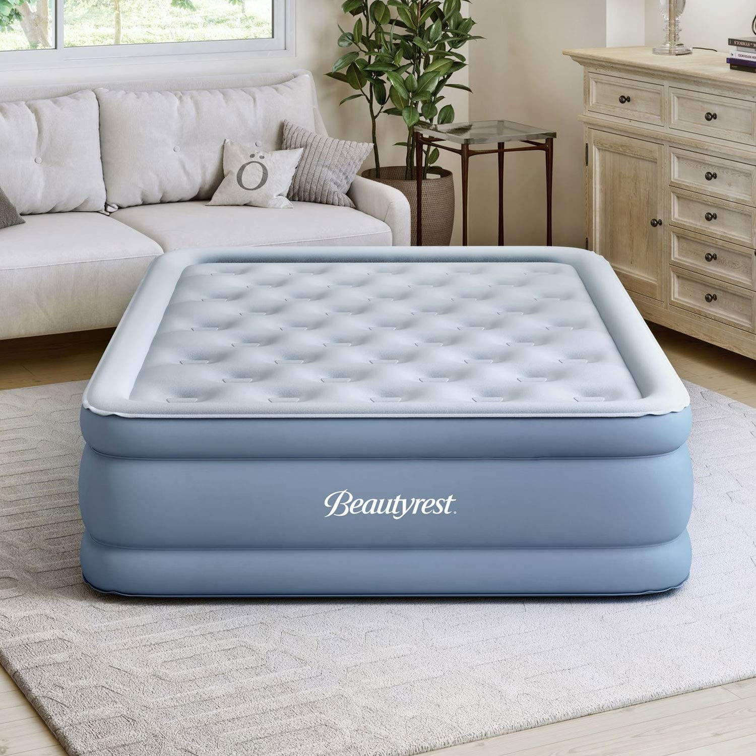 and Adapter Express Pump Twin Beautyrest MM09517TW 15 Inch Posture Lux Portable Inflatable Bed Air Mattress with Adjustable Firmness