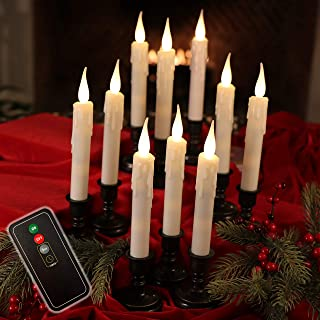 Set of 10 Flameless Drip Texture Taper Window Candles with Removable Bronze Candleholders with Timer and Remote, Batteries Included