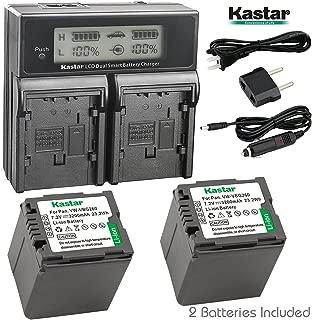 Kastar LCD Dual Fast Charger & 2 x Battery for Panasonic VW-VBG070, VW-VBG130, VWVBG260, VBG6 and SDR-H40, SDR-H80 Series, HDC-HS700, TM700, HS300, TM300, HS250, SD20, HS20, HDC-SDT750 Camcorders etc.