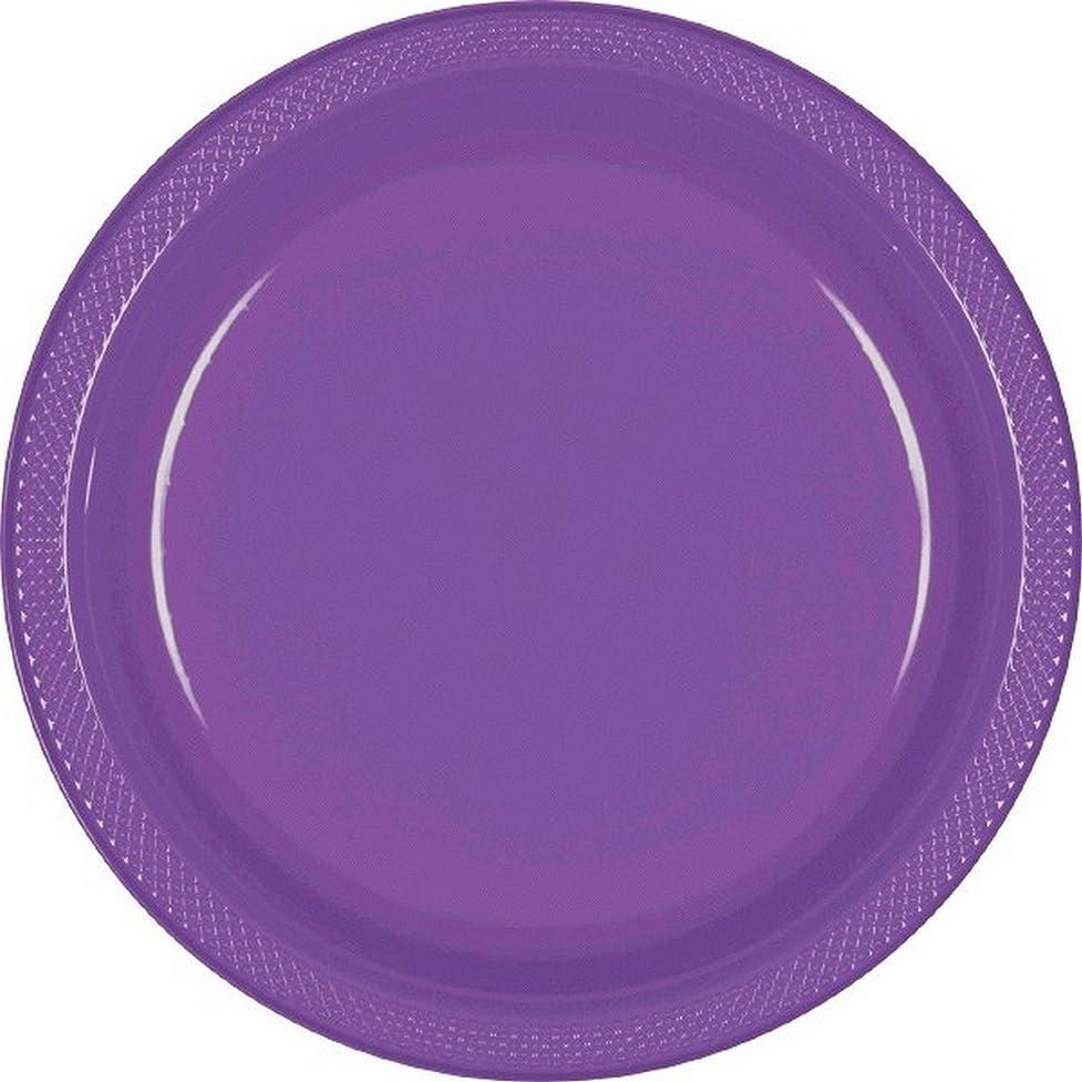 恒久的エッセンス宇宙船(アムスキャン) Amscan プラスチックプレート 紙皿 パーティー バーベキュー (20枚組) (ワンサイズ) (パープル)
