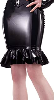 Westward Bound Carnivale-Latex Rubber Tier Latex Rubber Skirt. Black.