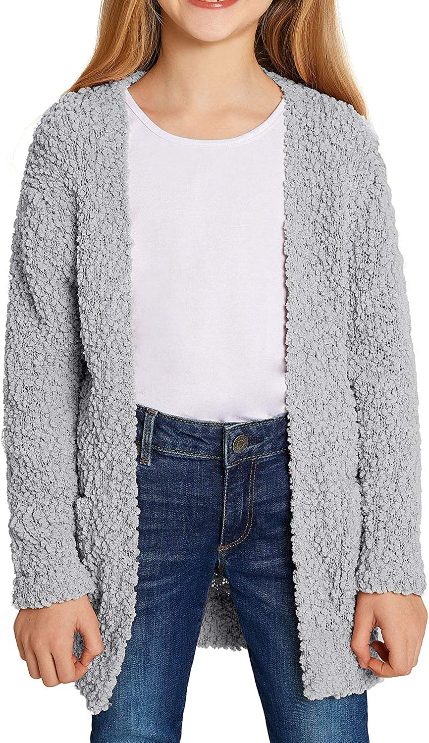 GRAPENT Girls Open Front quality assurance Long Cardigan Ou Max 83% OFF Sweater Sleeve Pockets