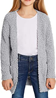Girl's Casual Open Front Long Cardigan Sweaters with Pockets 4-13 Years