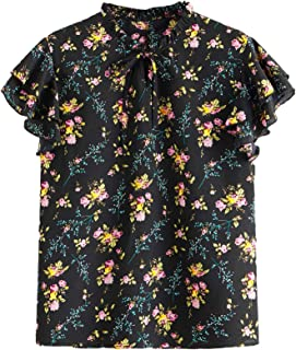 SheIn Women's Plus Size Floral Print Ruffle Cap Sleeve Tie Neck Frill Blouse Top