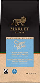 Marley Coffee Simmer Down Decaf Coffee, Whole Bean, Swiss Water Process, Medium Roast, 10 oz (6 Count)