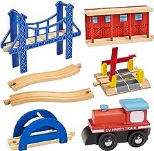 Dragon Drew Wooden Train Accessory Set – Includes Train Car, Station Platform, Raised Bridge and Tracks and Railroad Crossroad - Compatible with Brio, Thomas, Chuggington and All Major Brands