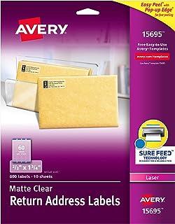 """ملصقات عنوان عودة شفافة غير لامعة من Avery ، تقنية شور فيد ، ليزر، 2.3 سم × 1 3/4 بوصة، 600 ملصقة، 5 عبوات (15695) 2/3"""" x ..."""
