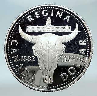 1982 unknown 1982 CANADA UK Queen ELIZABETH II Cattle Skull Pr coin Good Uncertified