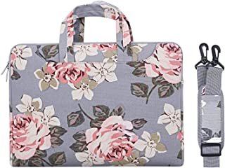 MOSISO Laptop Shoulder Bag Compatible 15-15.6 Inch New MacBook Pro with Touch Bar A1990 & A1707 2018 2017 2016, MacBook Pro, Also Fit 14 Inch Ultrabook, Canvas Rose Pattern Sleeve Case Cover, Gray