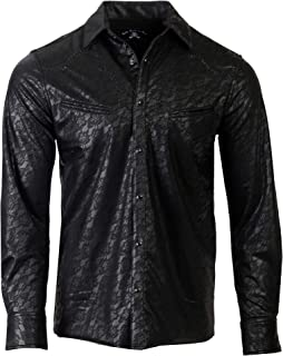 Men's Faux Leather Long Sleeve Western Inspired Rock n Roll Shirt 372