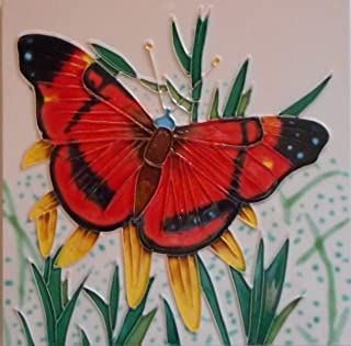 Tile Craft 8 x 8 Butterfly Ceramic Art Tile with Easel Back