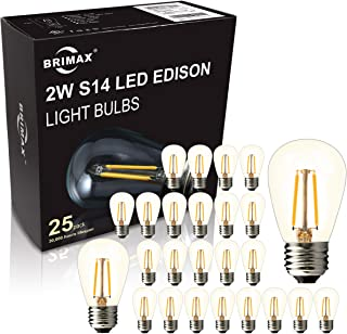 BRIMAX - (25PACK) - 2W S14 LED Outdoor Edison Light Bulbs for String Light Replacement, E26 Medium Screw Base, Dimmable, 2700K, 2Watt to Replace 11w/20w/25w Incandescent Bulb, Weatherproof