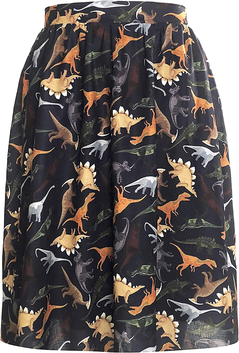LaVieLente Women's KneeLength Midi Skirt w Stretchable Waist Design in Sloth, Dinosaur and Other Animal Patterns