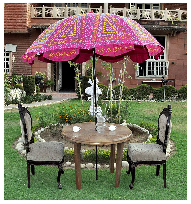 Indian Garden Parasol Large Outdoor Home Sombrilla Sombrilla de algodón: Amazon.es: Jardín