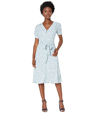 LAUREN Ralph Lauren Petite Floral Print Georgette Dress (Mascarpone Cream Multi) Women