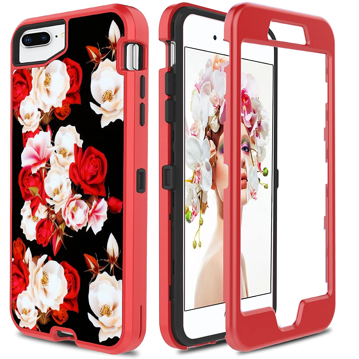 Floral Case for iPhone 8 Plus,Case for iPhone 7 Plus, PURSQ Hybrid 3 IN 1 Heavy Duty Luxury Soft Rubber Flexible TPU with Floral Design Shockproof Back Cover for iPhone 7 Plus/8 Plus