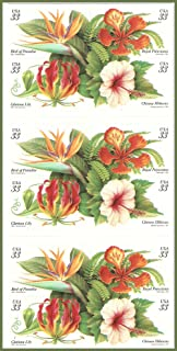 Tropical Flowers: Bird of Paradise, Royal Poinciana, Gloriosa Lily, and Chinese Hibiscus: Full Double-Sided Booklet of 20 x 33-Cent Postage Stamps, USA 1999, Scott 3310-13 by USPS