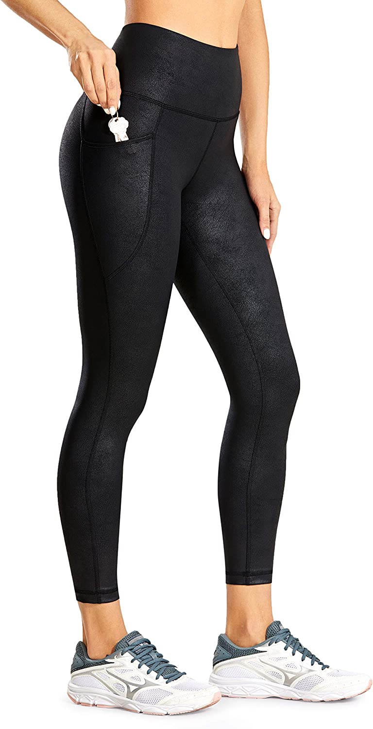 CRZ YOGA Women's Faux Leather Workout Leggings 23 Inches - High Waisted Yoga Pants Stretchy Capris with Pockets