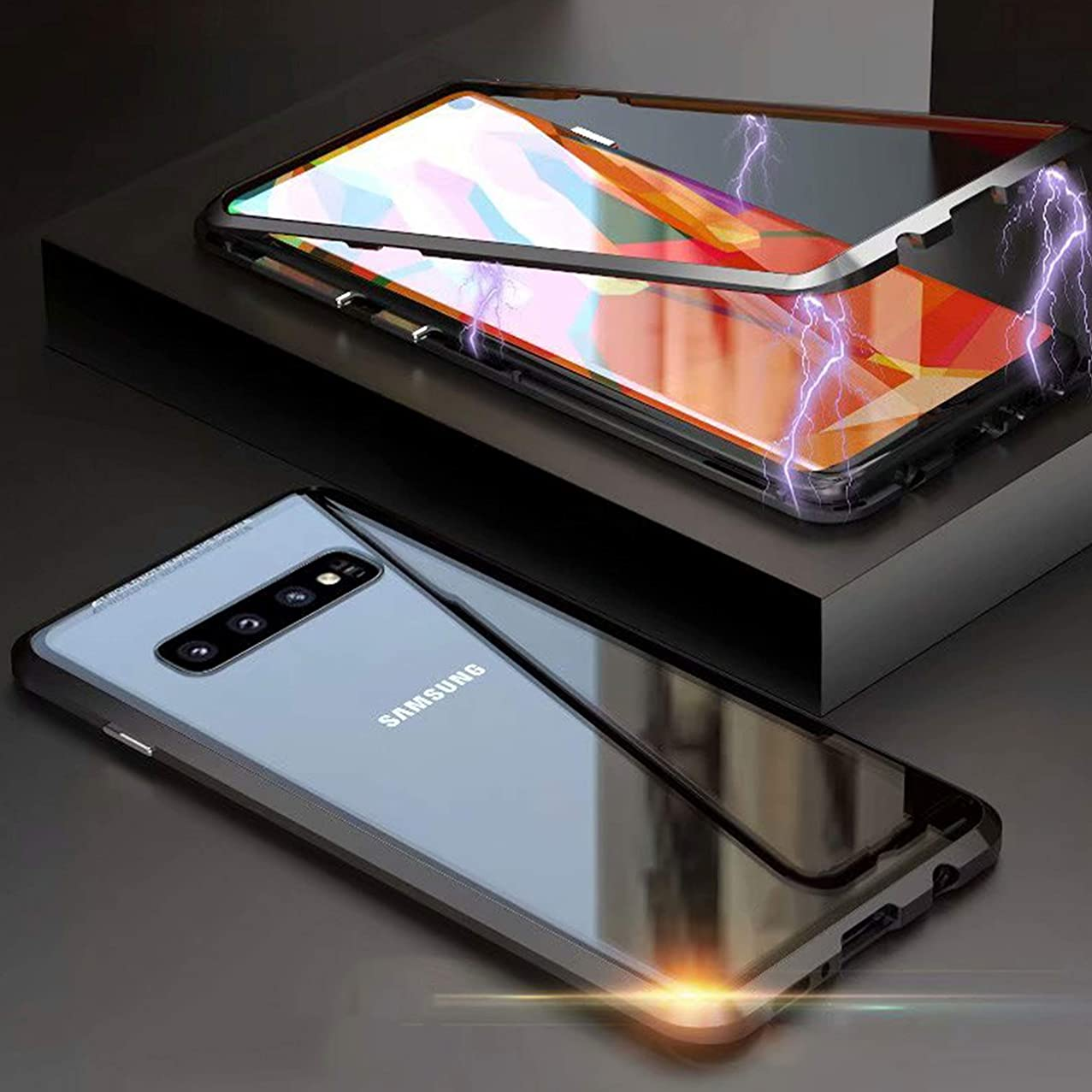 360° Full Body Case for Samsung Galaxy S10+/S10 Plus Case,[Front and Back of Clear Touchable Strong HD Ultra-Thin Tempered Glass] with Magnetic Metal Frame Adsorption Protection Cover